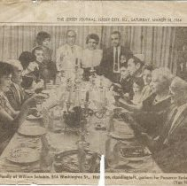 Image of Schubin newspaper photo clipping, Passover Seder 1964