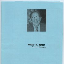 Image of Memoriam (William Schubin): What A Man! By David Greenberg. In Memory of William Schubin. Feb. 28, 1898 - April 5, 1995. - Pamphlet