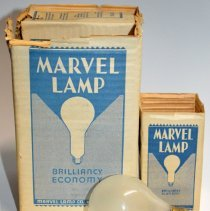 Image of Package of 6 frosted incandescent 25 watt light bulbs made by Marvel Lamp Co., Hoboken, N.J. N.d., ca. 1927-1945. - Bulb, Incandescent