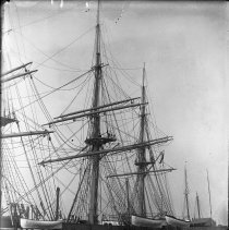 Image of B+W photo negative of the naval sailing vessel Portsmouth docked at or near 4th St. & Hudson River, Hoboken, n.d., ca. 1895-1900. - Negative, Glass Plate