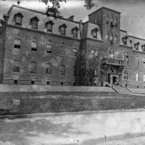 Image of B+W photo negative of Stevens Institute of Technology Main Building, 5th St. between River & Hudson Sts., Hoboken, n.d., ca. 1880-1890. - Negative, Glass Plate