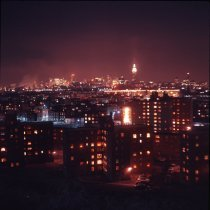 Image of Color photograph of night view to New York from Riverview Park of Hoboken, Jan. 1969.     - Transparency, Slide