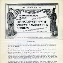 Image of Program: The History of Theatre, Vaudeville and Movies in Hoboken. 2nd Annual Exhibition, HHM, City Hall, Hoboken, Nov. 20, 1987. - Program