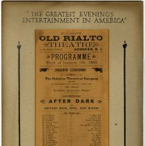 "Image of Sign, lobby, for ""After Dark"" production at Rialto Theatre, 118 Hudson St., Hoboken, Jan. 1929. - Sign"