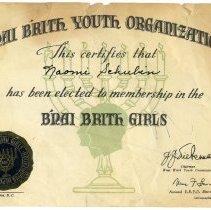 Image of Bnai Brith Youth Organization, Naomi Schubin, Bnai Brith Girls