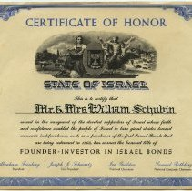 Image of Certificate of Honor, State of Israel, issued to Mr. & Mrs. William Schubin, as Founder - Investor in Israel Bonds. 1963. - Certificate, Commemorative