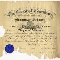 Image of Grammar School No. 1, Diploma, Marguerite V. Hildemann, 1914