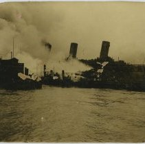 Image of Sepia-tone photo of pier 5 fire in Hoboken, no date, (August 24, 1921.) - Print, Photographic