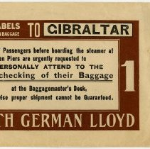 Image of Envelope for tags & labels for First Cabin Baggage to Gibralter, North German Lloyd Line, Hoboken, n.d., ca. 1900-1910. - Envelope