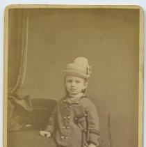 Image of Carte-de-visite of young girl with hat posed in studio of Louis Nagel, 192 Washington St., Hoboken, n.d., ca. 1867-1880. - Carte-de-visite
