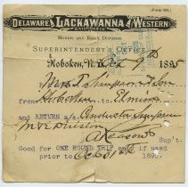 Image of Pass for free roundtrip rail travel issued to an employee's family by Supt., Morris & Essex Division, D.L. & W., Hoboken, Oct. 8, 1895. - Pass