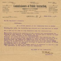 Image of Letter to Mayor & City Council from Commissioners of Public Instruction, June 20, 1899, re overcrowded schools.  - Letter
