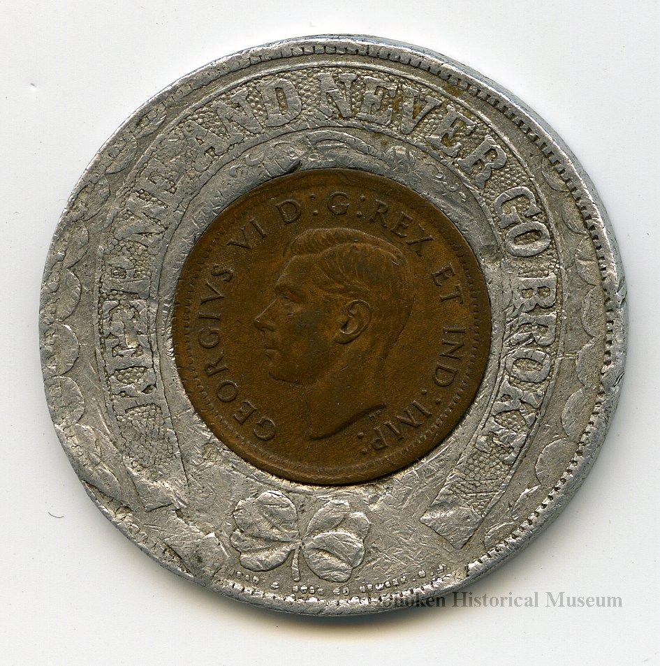 Encased coin: Ferguson Bros. Mfg. Co., Hoboken, N.J. with encased ...