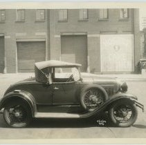 Image of B+W photo of automobile on Park Ave. north of 14th St. across from Hostess bakery, Hoboken, Apr. 14, 1934.  - Print, Photographic