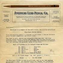 Image of Letter, promotional advertising: American Lead Pencil Co., Factory &  Executive Offices, Hoboken, N.J. Aug. 1928. - Stationery