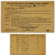 Image of enclosure, printed card: Vote for the Police and Firemen Salary Increase