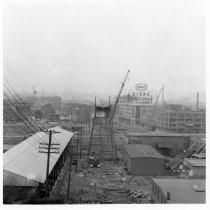Image of B+W photos, 32, of demolition of trolley trestle, Hoboken, 1949. - Print, Photographic