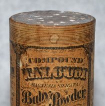 Image of Container: Compound Talcum Baby Powder. Manufactured by Julius Fehr, Pharmaceutist, Hoboken, N.J. Ca. 1873-1876. - Container, Apothecary