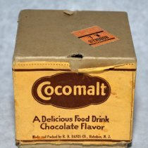 Image of Package: Cocomalt 3 oz. sample can & 2 promotional leaves; original mailing box. R.B. Davis Co., Hoboken, N.J. N.d., ca. 1930-1940. - Package, Product