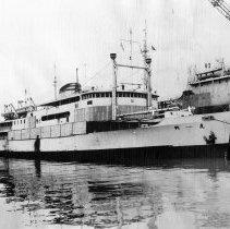 Image of B+W photo of cargo ship Hu Men at Todd Shipyards dock, Hoboken, Jan. 20, 1949. - Print, Photographic