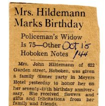 Image of Mary Hildemann 75th birthday