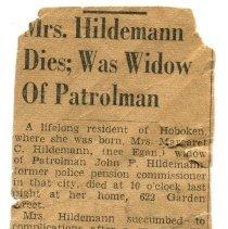 Image of Margaret Hildemann obituary