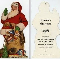 Image of Christmas ornament card from Hoboken Bank for Savings, Washington, corner of 1stSt., n.d., ca. 1945-1955.  - Ornament, Christmas Tree