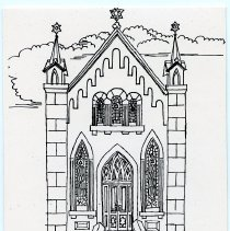 Image of Notecard: Church building, 637 Garden St., Hoboken. Ink drawing by J.S. Watson, no date, circa 1975-1985. - Notecard