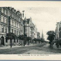 Image of [14] Lehe, Hafenstrasse, die Post und Rusch's Hotel.