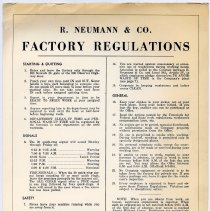 Image of Sign: R. Neumann & Co. Factory Regulations. (Hoboken, n.d., ca. 1945-1960.) - Sign, Informational