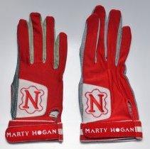 Image of Glove, raquetball, 2: Neumann Tackified Glove. Marty Hogan brand. Made with Neumann leather, R. Neumann & Co., Hoboken, N.J. N.d., ca. 1987-1990. - Glove, Racquetball