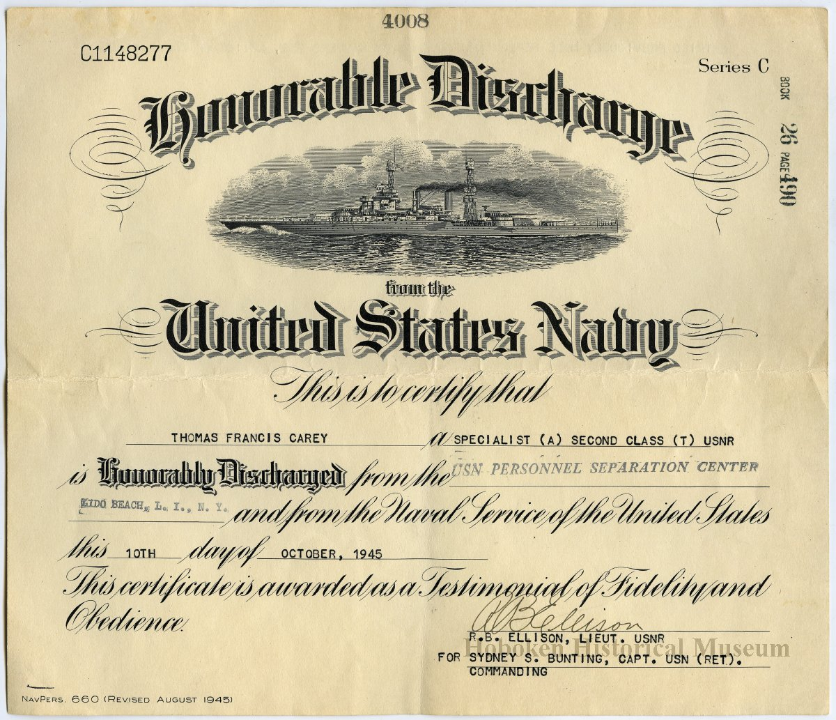 Certificate Honorable Discharge From The Us Navy Thomas Francis