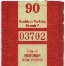 Image of Permit stickers, resident parking, 7, for City of Hoboken, 1990 to 2005. - Sticker