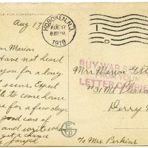 Image of back; inkstamp: Buy War Stamps from your Letter Carrier