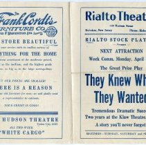 "Image of Program: Rialto Stock Players presentation of ""The Night Duel."" Week of Apr. 13th, [1926.] The Rialto Theatre, 118 Hudson St., Hoboken. 