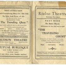 "Image of Program: Rialto Stock Players presentation of ""A Good Bad Woman."" Week of Oct. 11, 1926. [The Rialto Theatre, 118 Hudson St., Hoboken]. - Program, Theater"