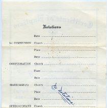 Image of Certificate of Baptism, back