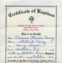 Image of Certificate of Baptism, front