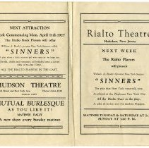 "Image of Program: Rialto Stock Players presentation of ""The Gorilla."" Week of Oct. 11, 1926. [The Rialto Theatre, 118 Hudson St., Hoboken]. - Program, Theater"