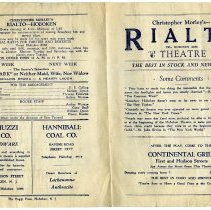 "Image of Program: Christopher Morley's Rialto Theatre; The Hoboken Theatrical Co. presentation of ""Old Heidelberg."" Week of Dec. 3, 1928. The Rialto Theatre, 118 Hudson St., Hoboken.  - Program, Theater"