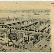 Image of Postcard: Hamburg-American Line Piers, Hoboken, N.J. Postmarked Hoboken, circa 1901-1907. - Postcard
