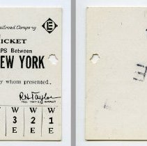 Image of Ticket, transportation, sample: Erie-Lackawanna Railroad. Yearly Ten Trip Ticket Between Murray Hill & N.Y. 1963. - Ticket, Transportation