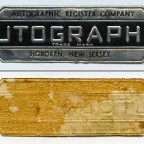 Image of Label: Autographic Register Company; Autographic Trade Mark; Hoboken, New Jersey. N.d., ca. 1930s. - Label, Product