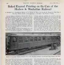 Image of Article: Baked Enamel Painting on the Cars of the Hudson & Manhattan Railroad. Electric Railway Journal, Vol. XLI, No. 4, Jan. 25, 1913. - Article