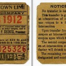 Image of New York Railways Company streetcar ticket, 34th St., Sept. 18, 1912