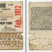 Image of 1912 Monthly Commutation Ticket, front and back