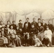 Image of Sepia-tone group photo of man, woman & children of various ages; Louise Sanntrock in group. Location not known, n.d., ca. 1890s. - Print, Photographic