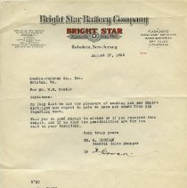 Image of Bright Star Battery Company letterhead
