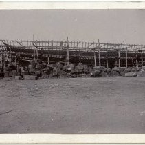 """Image of Cabinet photo of the steel hull of the ferry """"Netherlands"""" for Hoboken Ferry Co. in T.S. Marvel & Co. shipyard, Newburgh, N.Y., Sept. 30, 1892. - Photograph, Cabinet"""