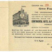 Image of Coupon for transportation & baggage transfer by Continental Hotel & Passenger Transfer Co., Hoboken, to any steamship piers in N.Y. or Hoboken, n.d., ca. 1920-1930. Unused. - Coupon